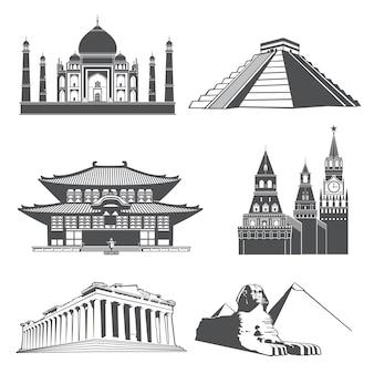 Punti di riferimento della siluetta di viaggio con l'insieme di vettore dei monumenti famosi del mondo