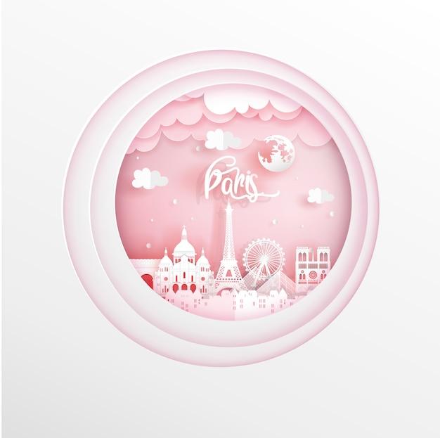 Punti di riferimento di parigi, francia in rosa