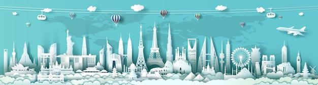 Punti di riferimento di viaggio nel mondo dell'architettura con sfondo turchese, importanti monumenti architettonici del mondo, turismo con stile di taglio carta panoramica