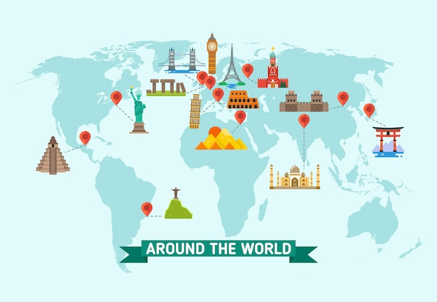 Punti di riferimento di viaggio sulla mappa del mondo illustrazione vettoriale