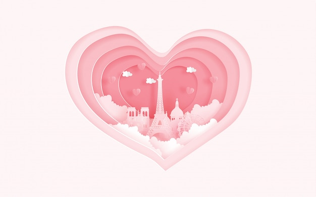 Punti di riferimento famosi di parigi, francia nel concetto di amore con forma del cuore. carta di san valentino