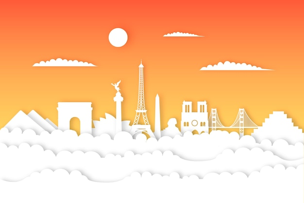 Punti di riferimento sullo skyline in stile carta