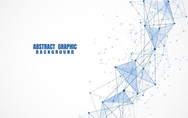 Punti e linee di collegamento astratti con fondo geometrico