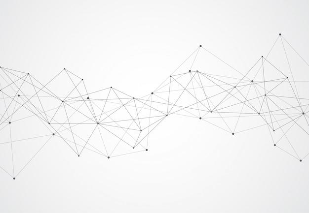 Punti e linee di collegamento astratti con fondo geometrico.