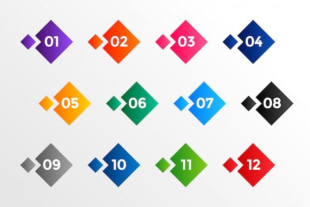 Punti elenco numeri in stile geometrico in molti colori