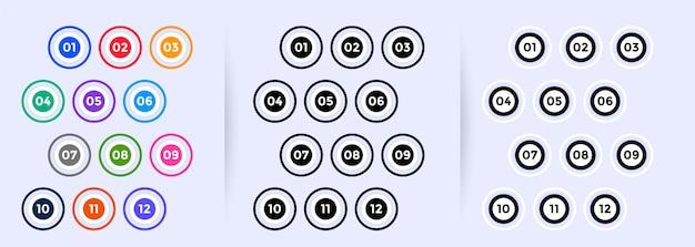 Punti elenco proiettili circolari impostati da uno a dodici