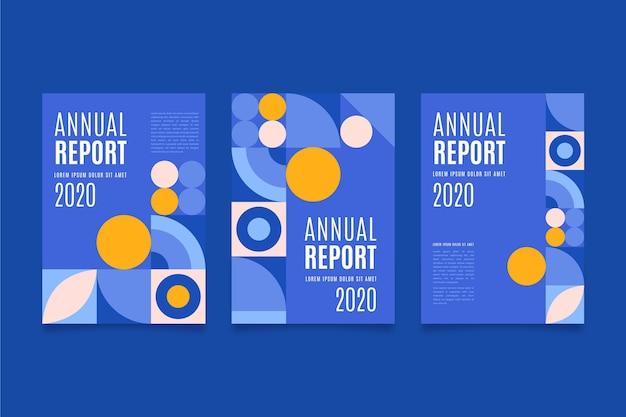 Puntini colorati e modello blu del rapporto annuale