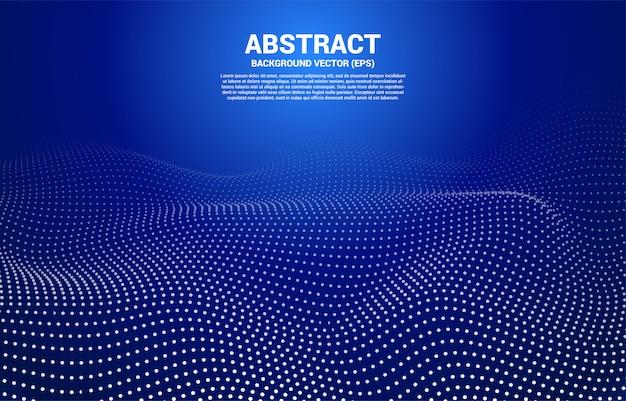 Punto curva blu linea digitale e linea e onda con wireframe. sfondo astratto per il concetto di tecnologia futuristica 3d
