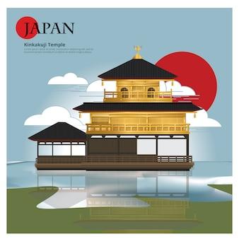 Punto di riferimento del giappone del tempio di kinkakuji