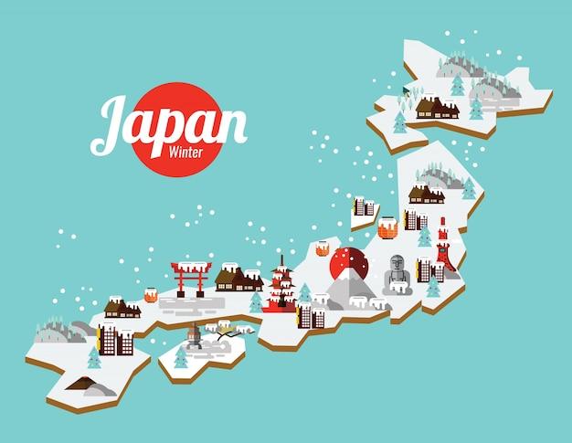 Punto di riferimento del giappone inverno e mappa di viaggio. icone ed elementi di design piatto