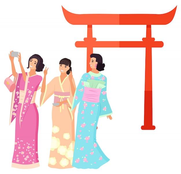 Punto di riferimento del giappone, tiro geisha, torii vector