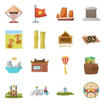 Punto di riferimento dell'insieme dell'icona del fumetto di vettore del vietnam cultura nazionale del vietnam dell'illustrazione isolata vettore insieme oflandmark asia dell'icona.