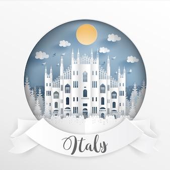 Punto di riferimento dell'italia ed edifici con cornice bianca ed etichetta.