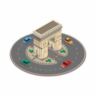 Punto di riferimento della costruzione del monumento di arc de triomphe dal concetto di parigi francia nell'illustrazione isometrica isolata nel fondo bianco