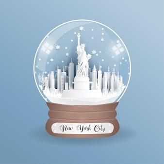 Punto di riferimento di new york, l'america in un mondo.