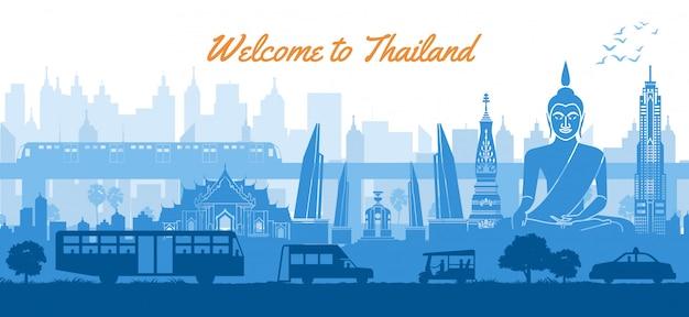 Punto di riferimento famoso della tailandia nel paesaggio