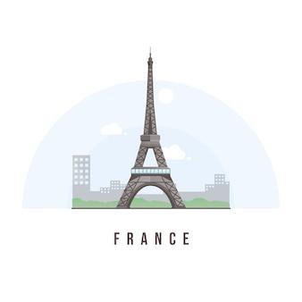 Punto di riferimento minimalista di parigi francia della torre eiffel