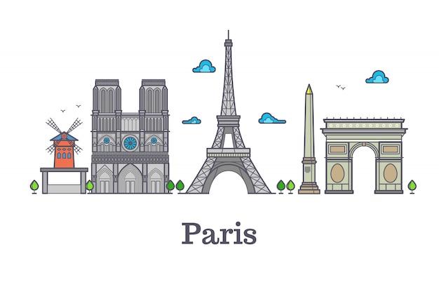 Punto di riferimento moderno della linea di viaggio della francia, illustrazione di vettore di panorama di parigi