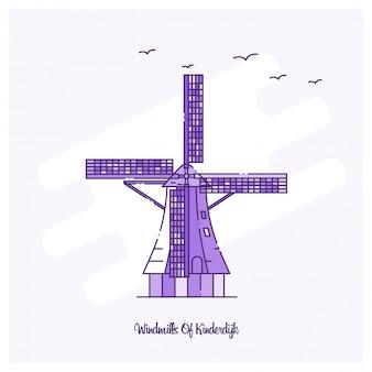 Punto di riferimento windmills of kinderdijk
