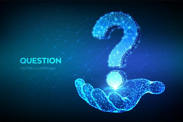 Punto interrogativo. domanda bassa astratta poli segno in mano. chiedi simbolo.