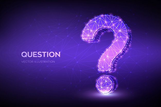 Punto interrogativo. segno di domanda astratto basso poligonale. chiedi simbolo.