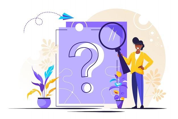Punto interrogativo sul documento. donna d'affari facendo domande