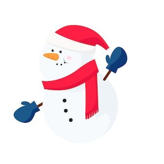 Pupazzo di neve che indossa sciarpa e guanti da cappello di babbo natale