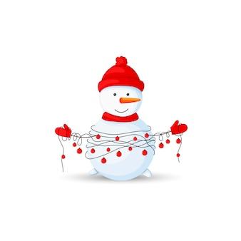 Pupazzo di neve con ghirlande in mano su sfondo bianco