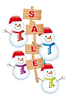 Pupazzo di neve con vendita annuncio su sfondo bianco vettoriale