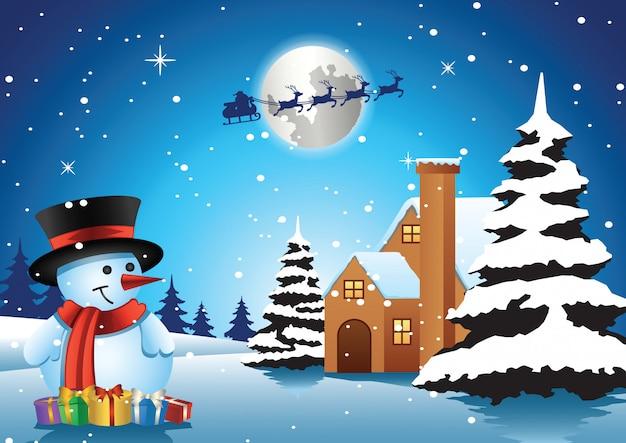 Pupazzo di neve davanti alla casa solitaria nella notte di natale e babbo natale vola via
