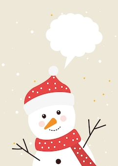 Pupazzo di neve di buon natale con il fumetto