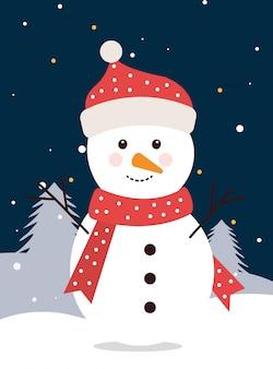 Pupazzo di neve di buon natale nel paesaggio invernale