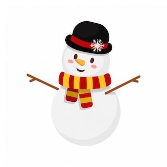 Pupazzo di neve di natale con cappello e sciarpa a righe