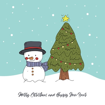 Pupazzo di neve e albero di natale disegnati a mano