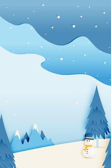 Pupazzo di neve e bellissimo paesaggio invernale con carta stile arte e colori pastello schema vettoriale