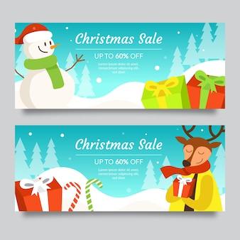 Pupazzo di neve e renne con sciarpe banner di vendita di natale
