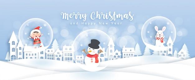 Pupazzo di neve, elfo e coniglio nel villaggio di neve, illustrazione di natale