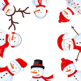 Pupazzo di neve in sciarpa, stivali, guanti, cappello e cravatta