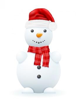 Pupazzo di neve in un'illustrazione rossa di vettore del cappello del babbo natale