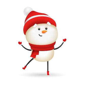 Pupazzo di neve sorridente che porta cappello e sciarpa lavorati a maglia rossi