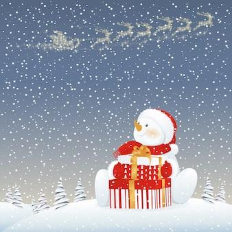 Pupazzo di neve sull'illustrazione di notte di natale