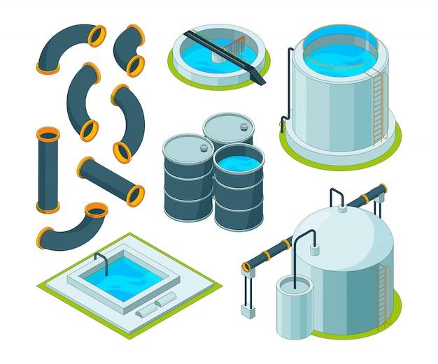 Purificazione dell'acqua. icone isometriche del laboratorio chimico del sistema di pulizia d'innaffiatura di trattamento