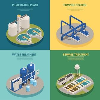 Purificazione delle acque reflue composizione isometrica quadrato