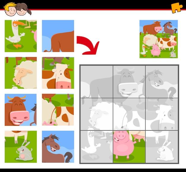 Puzzle con animali da fattoria felici
