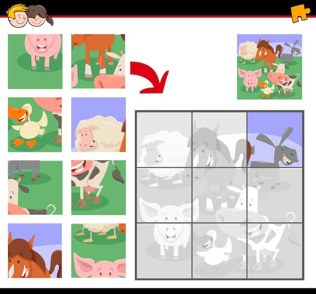 Puzzle con personaggi di animali della fattoria