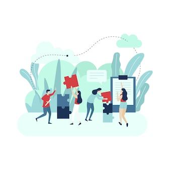 Puzzle di collegamento del lavoro di squadra