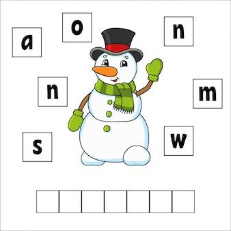 Puzzle di parole. foglio di lavoro per lo sviluppo dell'istruzione
