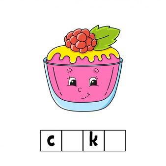 Puzzle di parole. risposta: torta. foglio di lavoro per lo sviluppo dell'istruzione.