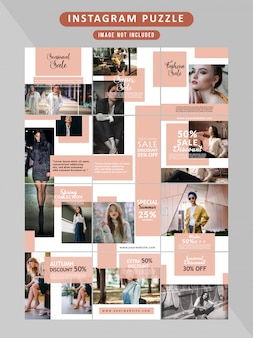 Puzzle fashion web banner per social media
