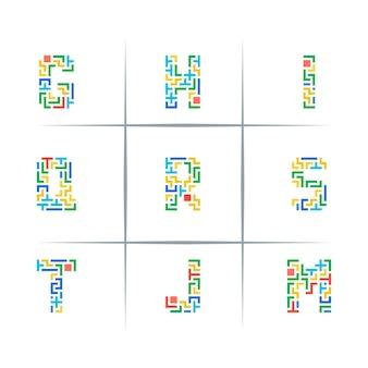 Puzzle piece letter logo design set